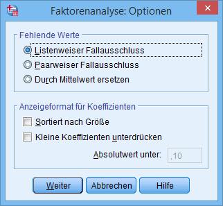Hauptkomponentenanalyse: Optionen