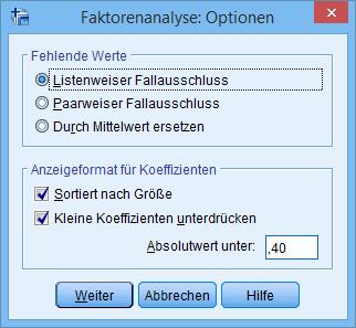 Hauptkomponentenanalyse: Optionen (ausgefüllt)