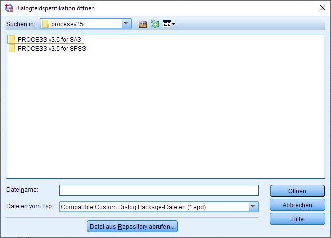 PROCESS Makro installieren: Öffnen Dialogfesnter Schritt #1