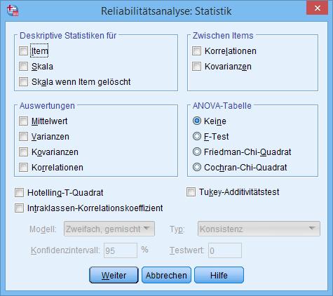 Cronbachs Alpha: Statistiken Dialogfenster