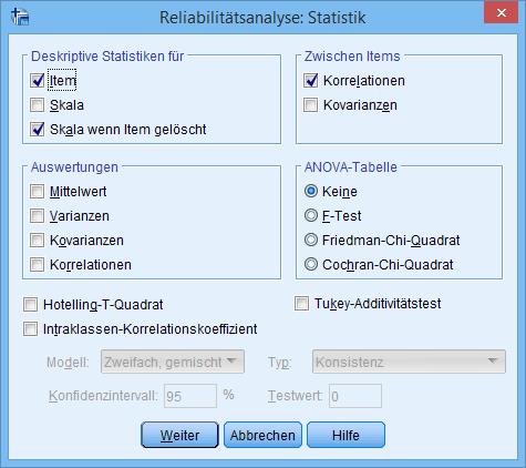 Cronbachs Alpha: Statistiken Dialogfenster (ausgefüllt)