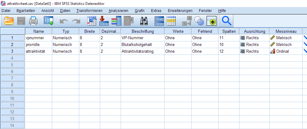 Spearman-Korrelation: SPSS Datafile