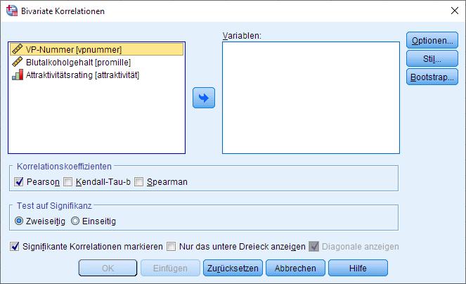 Spearman-Korrelation: Bivariate Korrelation Dialogfenster