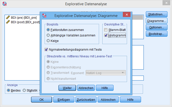 t-Test Explorative Datenanalyse Diagramme