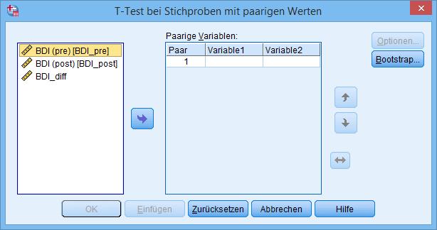 gepaarter t-Test Dialogfenster