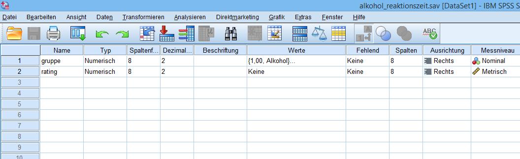 Ungepaarter t-Test: Datenfile