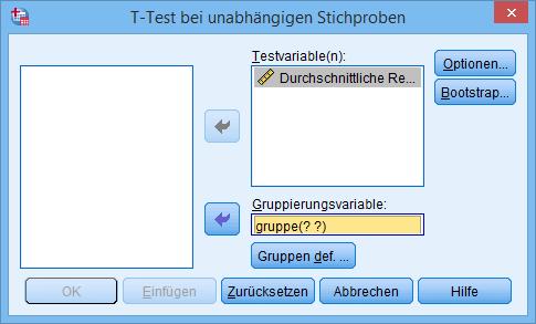 Ungepaarter t-Test: Dialog (ausgefüllt)