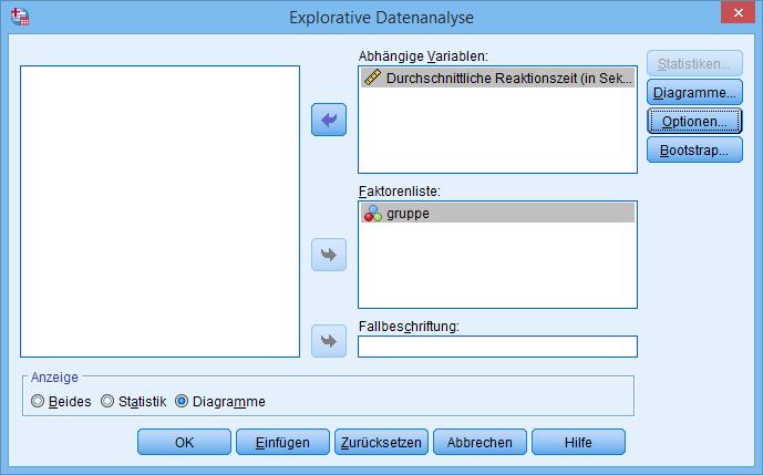 Explorative Datenanalyse (Dialogfenster ausgefüllt)