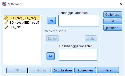 Wilcoxon-Vorzeichen-Rang-Test: Mediane berechnen, Dialogfenster