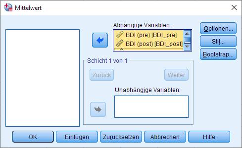 Wilcoxon-Vorzeichen-Rang-Test: Mediane berechnen, Dialogfenster (ausgefüllt)