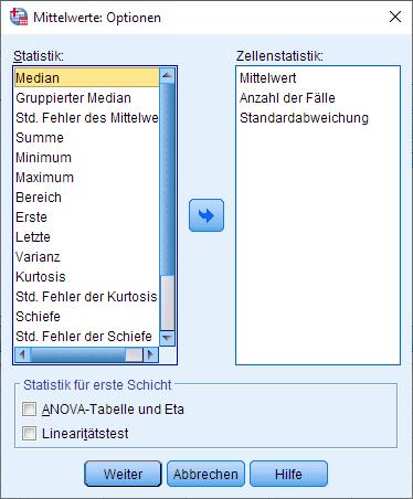 Wilcoxon-Vorzeichen-Rang-Test: Mediane berechnen, Dialogfenster (Optionen)