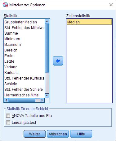 Wilcoxon-Vorzeichen-Rang-Test: Mediane berechnen, Dialogfenster (Optionen ausgefüllt)