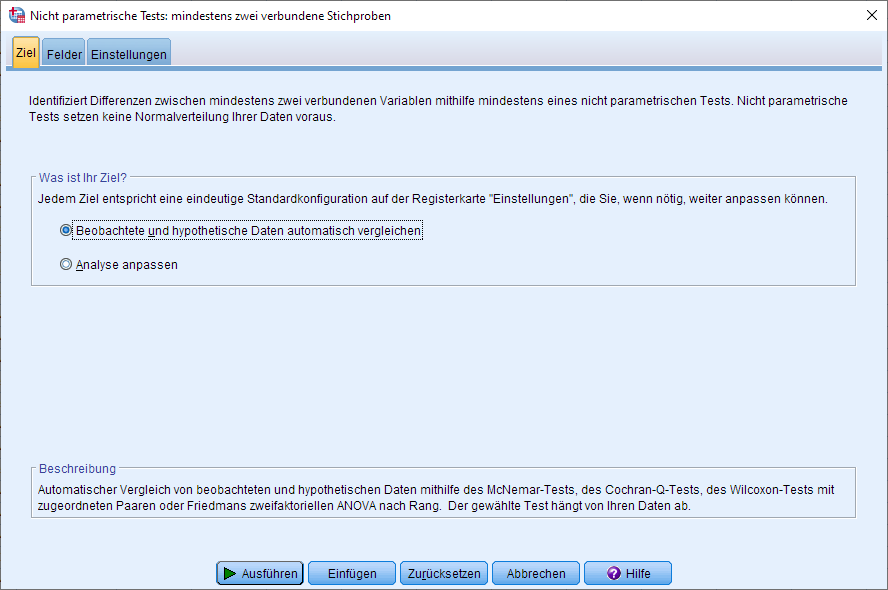 Wilcoxon-Vorzeichen-Rang-Test: Dialogfenster