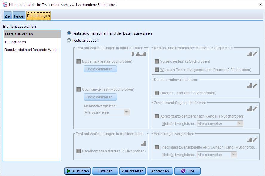 Wilcoxon-Vorzeichen-Rang-Test: Dialogfenster (Einstellungen)
