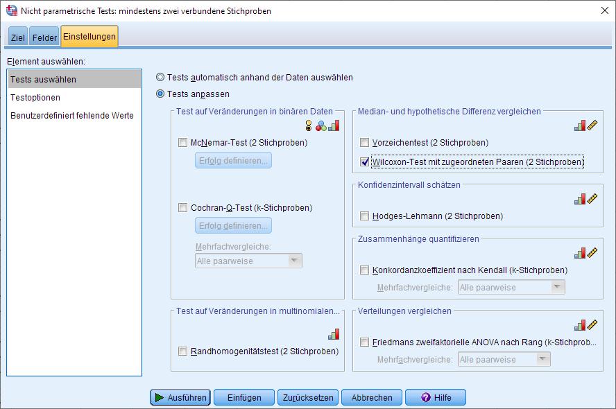 Wilcoxon-Vorzeichen-Rang-Test: Dialogfenster (Einstellungen ausgefüllt)