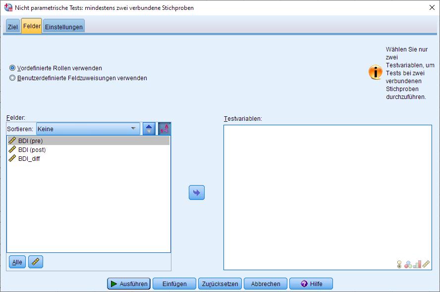 Wilcoxon-Vorzeichen-Rang-Test: Dialogfenster (Felder)