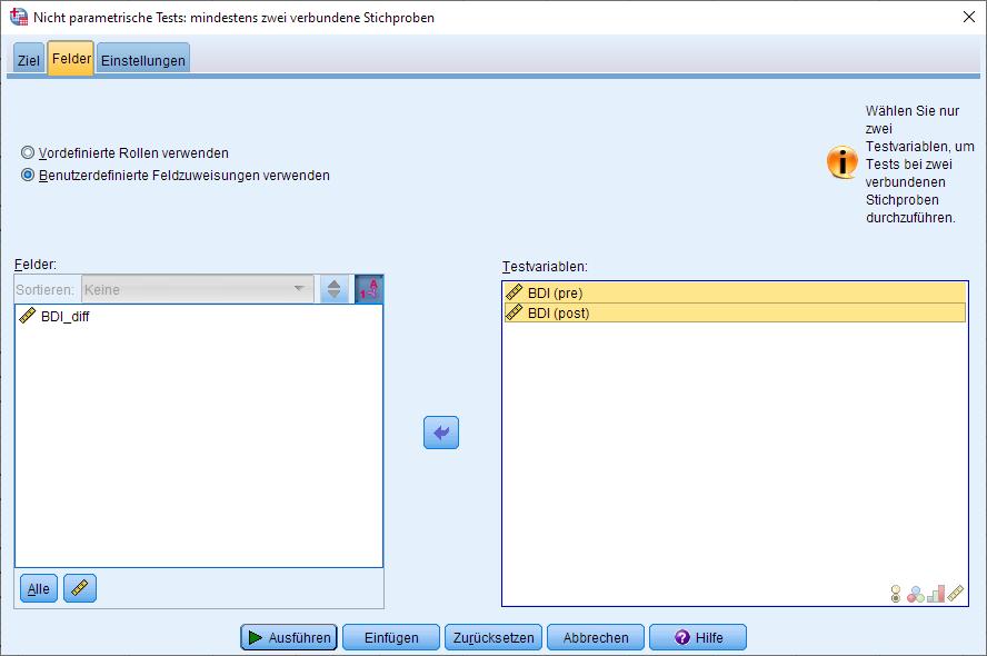 Wilcoxon-Vorzeichen-Rang-Test: Dialogfenster (Felder ausgefüllt)